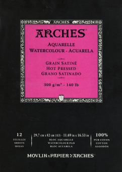 Arches Μπλοκ Ακουαρέλας Hot Pressed 29.7 x42cm A3 300gr 12 Φύλλων