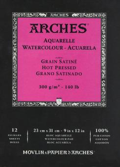 Arches Μπλοκ Ακουαρέλας Hot Pressed 23x31cm 300gr 12 Φύλλων