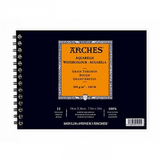 Arches Μπλοκ Σπιράλ Ακουαρέλας Rough Grain 19x6cm 300gr 12 Φύλλων
