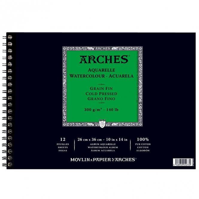 Arches Μπλοκ Σπιράλ Ακουαρέλας Cold Pressed 26x36cm 300gr 12 Φύλλων
