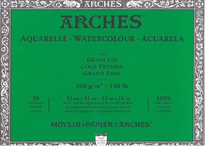 Arches Μπλοκ Ακουαρέλας Cold Pressed 31x41cm 300gr 20 Φύλλων